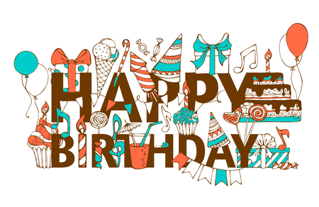 """ni�os con pancarta: Tarjeta del feliz cumplea�os dibujado a mano. Doodles cajas de regalo, guirnaldas y globos, notas de la m�sica, party los escapes, tortas y dulces, pastel de cumplea�os, fiesta de sombreros de felicitaci�n """"FELIZ CUMPLEA�OS""""."""