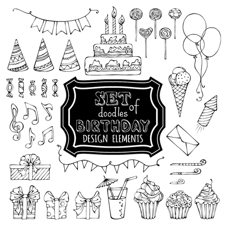 white letters: Set of outline birthday design elements. Hand-drawn garlands and balloons, music notes, gift boxes, party blowouts, cakes and candies, birthday pie, party hats and other doodles design elements isolated on white background.