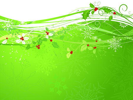 winterberry: Green Christmas background. Background with holly berries and snowflakes. There is copy space for your text.