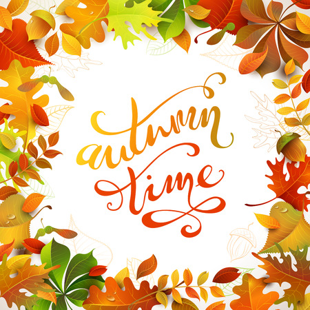 leaves frame: Autumn time. Bright colourful autumn leaves on white background. You can place your text in the center. Illustration