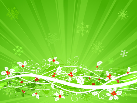 winterberry: Vintage green background with holly berries and snowflakes. There is copy space for your text.