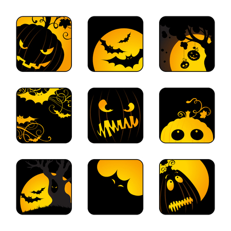 afterglow: Halloween icons set. Design elements with Jack-O-Lanterns, bats, moon, trees for your design isolated on white background.