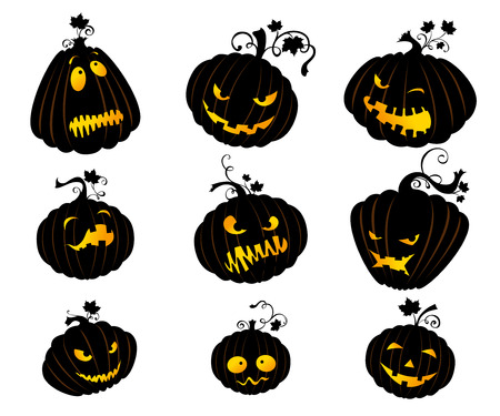 halloween pumpkins: Vector set of Halloween pumpkins with various expressions for your design isolated on white background.