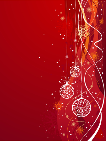 Red Christmas background. Background with snowflakes and Christmas decorations for your design.