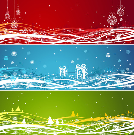 red and blue: Three Christmas banners. Horizontal backgrounds in red, blue and green colors. There is place for your text. Illustration