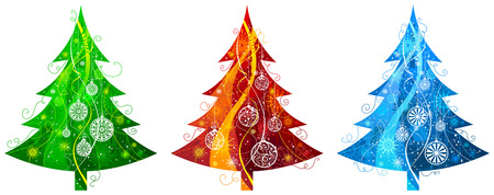 Three Christmas trees. Christmas trees with snowflakes and Christmas decorations isolated on white background.