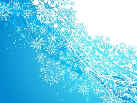 fondos azules: Fondo de invierno con copos de nieve. Blanco y azul copos de nieve adornados. Hay espacio para copiar el texto.