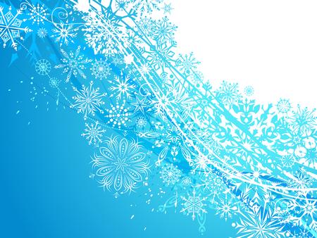 Winter background with snowflakes. White and blue ornate snowflakes. There is copy space for your text.