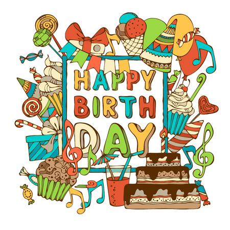 Scheda di vettore buon compleanno. Disegnati a mano dolci di compleanno, party gli scoppi, cappelli di partito, scatole regalo e fiocchi, ghirlande e palloncini, note di musica e fuochi d'artificio, candele sulla torta di compleanno. È possibile inserire il testo al centro del telaio. Archivio Fotografico - 45288117