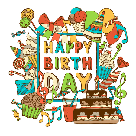 Vector Happy Birthday card. Hand-drawn Birthday sweets, party blowouts, party hats, gift boxes and bows, garlands and balloons, music notes and firework, candles on birthday pie. You can place your text in the center of frame.