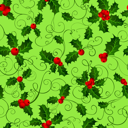 boundless: Seamless pattern with holly berries. Green Christmas boundless background. Green and red. Illustration