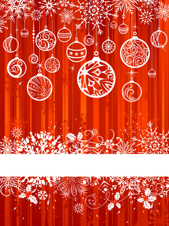 free background: Red Christmas background. Grunge red background with Christmas balls and snowflakes. There is place for your text on white stripe.