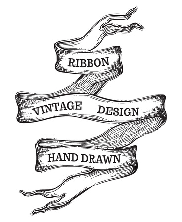 white ribbon: Vector sketch vintage ribbon isolated on white background. Hand-drawn black and white illustration. There is copy space for your text.
