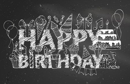 Chalk Happy Birthday blackboard background. Hand-drawn gift boxes, garlands and balloons, music notes, party blowouts, cakes and candies, birthday pie, party hats on congratulation