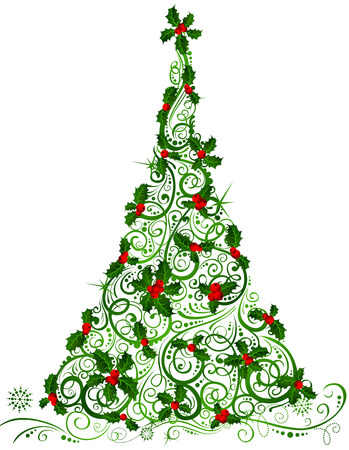 Christmas tree. Ornate tree of holly berries isolated on white background.
