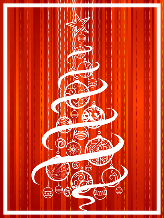 bright christmas tree: Christmas tree of balls. Bright red Christmas background with ornate Christmas tree. Illustration