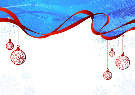 free background: Blue and red Christmas background. Bright blue background with snowflakes, red ribbon and Christmas decorations. There is copy space for your text on white area.