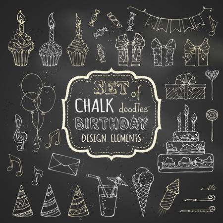 bebe a bordo: Chalk conjunto de cumpleaños elementos de diseño dibujado a mano. Guirnaldas Vector tiza y globos, notas musicales, cajas de regalo, party los escapes, pasteles y dulces, pastel de cumpleaños, fiesta de los sombreros y otros garabatos elementos de diseño en fondo de la pizarra. Vectores