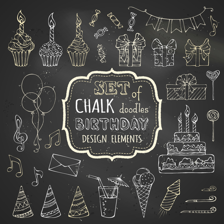 Chalk set of hand-drawn birthday design elements. Vector chalk garlands and balloons, music notes, gift boxes, party blowouts, cakes and candies, birthday pie, party hats and other doodles design elements on blackboard background.