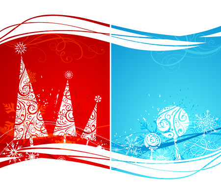 christmas backgrounds: Two winter backgrounds. Red and blue grunge Christmas backgrounds with ornate firs and trees. Where is copy space for your text.