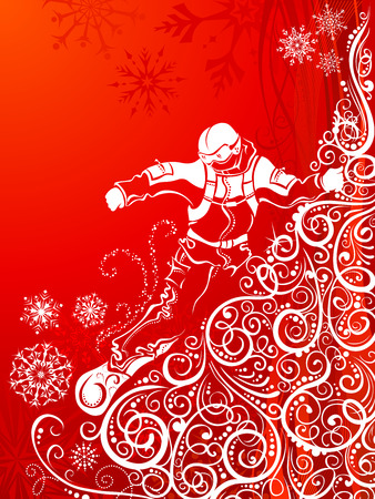 Mountainside: Abstract snowboarder. Ornate illustration of snowboarder on vintage mountainside.