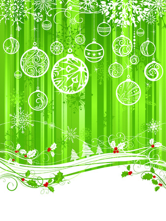 Green Christmas background. Green Christmas background with holly berries, Christmas balls and snowflakes. There is copy space for your text on white area. Illustration