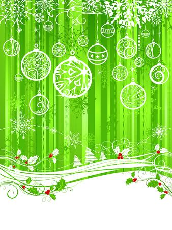 Groene Kerst achtergrond. Groene achtergrond van Kerstmis met hulst bessen, kerstballen en sneeuwvlokken. Er is een kopie ruimte voor uw tekst op een witte gebied.
