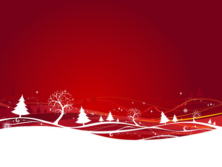 naranja arbol: Red Christmas background. Background with winter trees. Where is copy space for your text.