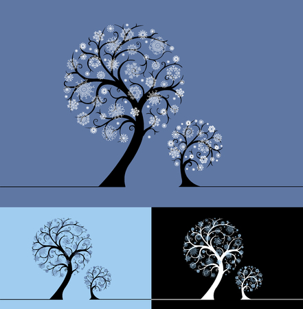 flakes: Snow trees illustration. Trees with snowflakes on branches in three designs.