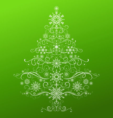 white christmas tree: Abstract Christmas tree. White winter Christmas tree of vintage snowflakes and swirls on green background.