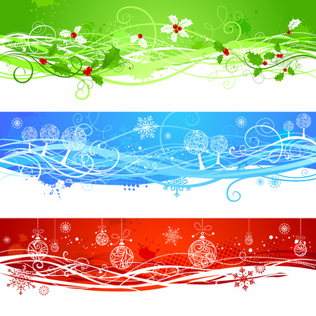 winterberry: Three Christmas banners. Horizontal grunge backgrounds for your Christmas design in red, blue and green colors.