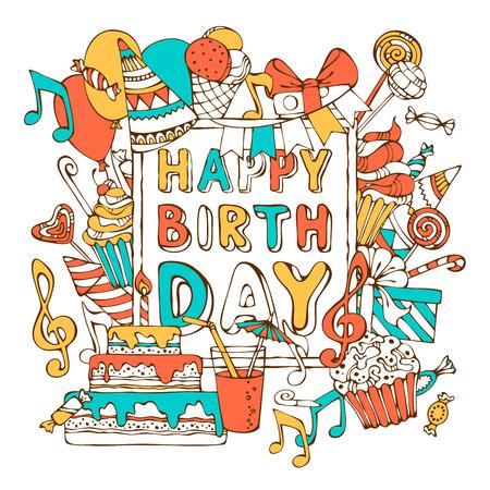 marco cumpleaños: Vector de la tarjeta del feliz cumpleaños. Cajas coloridas del regalo, guirnaldas y globos, notas de la música, party los escapes, pasteles y dulces, pastel de cumpleaños, fiesta de sombreros en el marco. Usted puede colocar el texto en el centro del encuadre. Vectores