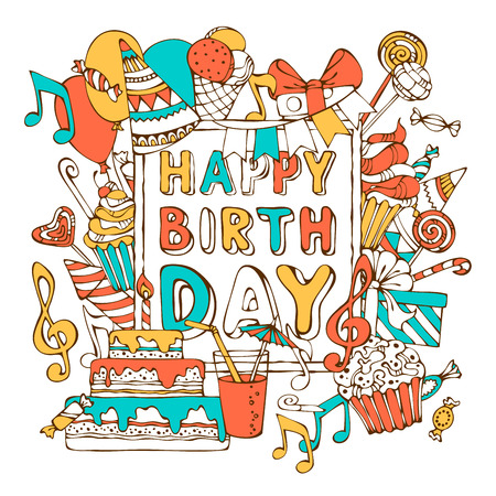 children birthday: Vector Happy Birthday card. Colourful gift boxes, garlands and balloons, music notes, party blowouts, cakes and candies, birthday pie, party hats on frame. You can place your text in the center of frame. Illustration