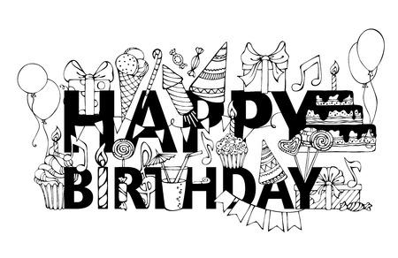 """Cartes Happy Birthday. Griffonnages dessinées à la main cadeaux boîtes, des guirlandes et des ballons, des notes de musique, les éruptions du parti, des gâteaux et des bonbons, tarte d'anniversaire, chapeaux de fête sur félicitations """"HAPPY BIRTHDAY""""."""