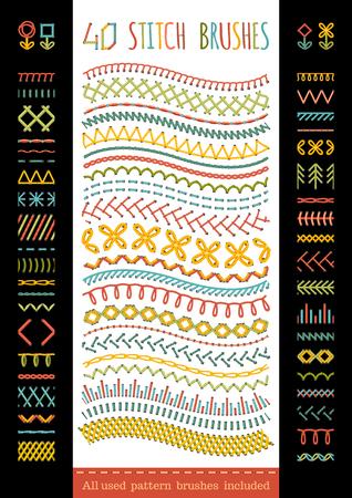 broderie: 40 brosses de couture sans soudure. Vector ensemble de coutures à coudre, des bordures, page décorations et diviseurs. Toutes les brosses de motifs utilisés inclus. Illustration