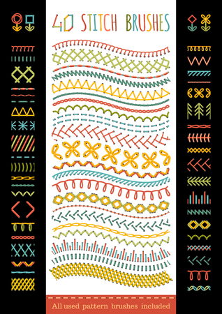 bordados: 40 cepillos puntada sin costura. Vector conjunto de coser costuras, bordes, decoraciones de página y separadores. Todos los pinceles de motivo utilizadas incluyeron.