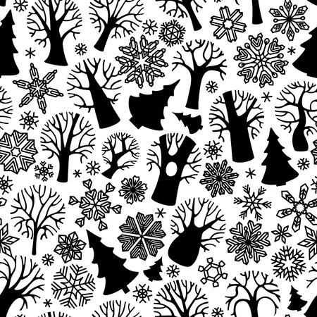 deciduous: Seamless winter trees pattern. Black silhouettes of deciduous trees, firs and snowflakes on white background.  Boundless texture can be used for web page backgrounds, wallpapers, wrapping papers, invitation and congratulations.