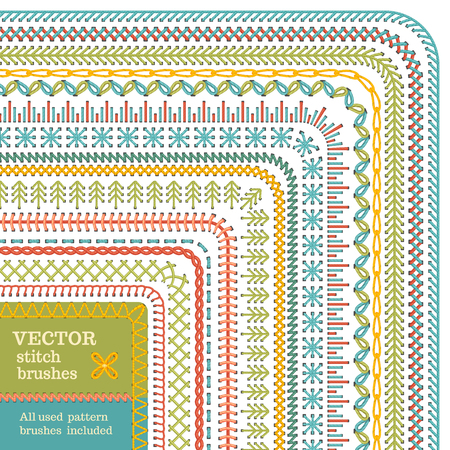 Vector set of seamless stitch brushes. Sewing patterns, borders, seams, page decorations and dividers isolated on white background. All used pattern brushes included.