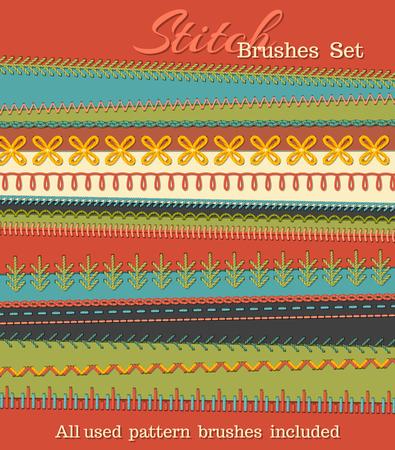 高詳細なステッチ ブラシのベクトルを設定します。縫製デザイン要素、縫い目、繊維ボーダー、装飾、繊維の背景上の仕切り。すべてはパターン ブ