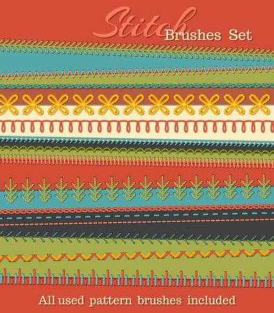 Vector set of high detailed stitch brushes. Sewing design elements, seams, textile borders, decorations and dividers on textile background. All used pattern brushes included.