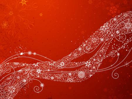 flocon de neige: Flocons de neige de Noël rouge fond. Vagues ornées de flocons de neige vintage sur fond rouge. Il est copie espace pour votre texte. Illustration