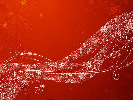 Red Christmas Snowflakes Background. Ornate waves of vintage snowflakes on red background. There is copy space for your text. Illustration