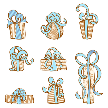 festive background: Gift icons set. Various hand-drawn festive gifts. Design elements for your design isolated on white background.