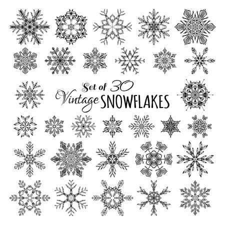 Vector Set of 30 Vintage Snowflakes. Hand-drawn snowflakes isolated on white background.