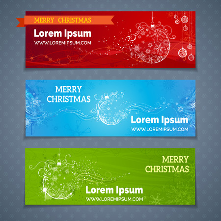 red and blue: Christmas banners set. Red, blue and green templates for your winter design. Vintage Christmas balls and snowflakes. There are places for your text. Illustration