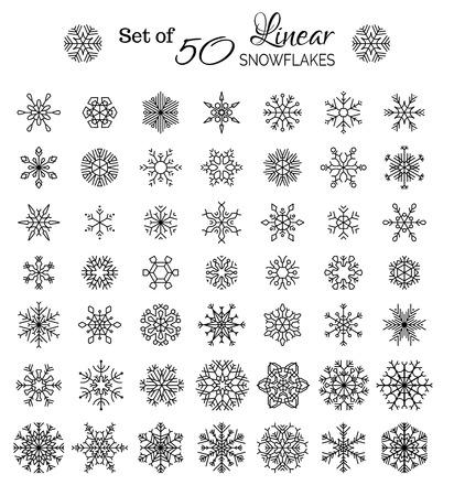 copo de nieve: Vector Conjunto de 50 Outlined copos de nieve. Copos de nieve esbozados vintage aislados sobre fondo blanco. Vectores