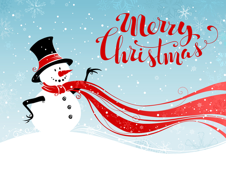 Christmas snowman background. Cute snowman in hat and long red scarf. Hand-written Merry Christmas. Illustration