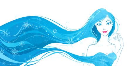 winter woman: Winter woman. Woman with blue snowflakes in hair. Grunge illustration isolated on white background.
