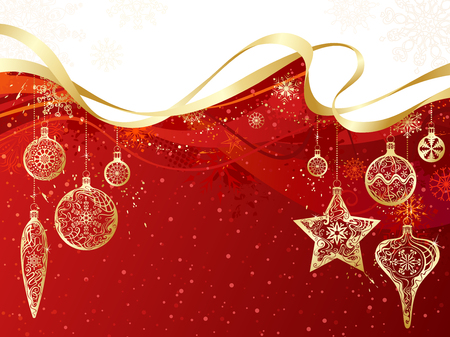 gold christmas decorations: Red and gold Christmas background. Gold Christmas decorations and snowflakes on grunge red background. There is copy space for your text on red and white areas.