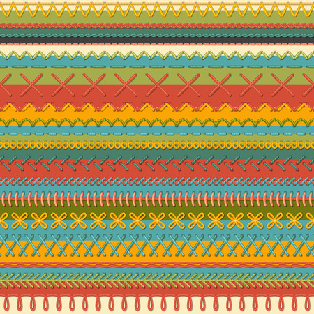 boundless: Seamless sewing pattern. Vector high detailed stitches and seams on textile background. Boundless background. Illustration